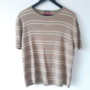 MAC & JAC Striped Beige Short Sleeve Shirt